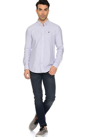 Çizgili Uzun Kollu Slim Fit Gömlek-North Of Navy